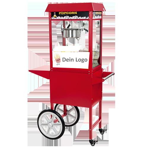 popcornmaschine rot mit wagen mit branding