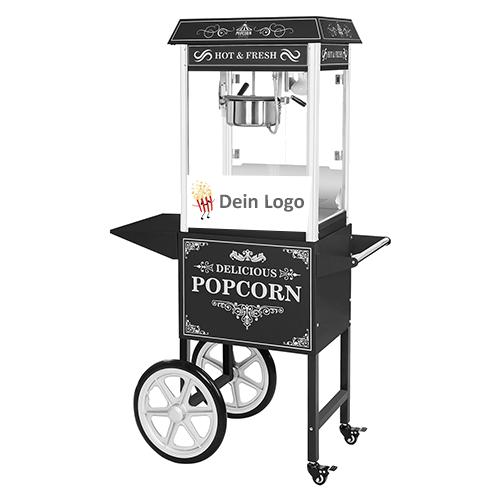 popcornmaschine schwarz mit wagen mit branding